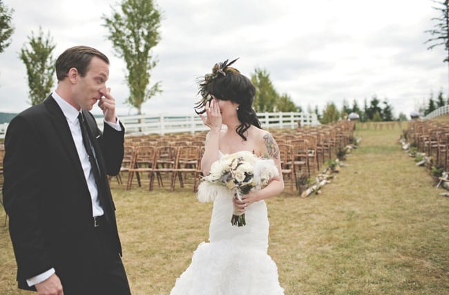 Tears of joy.  Photo by Stacy Jacobsen via Green Wedding Shoes