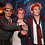 Johnny Depp, Josh Hutcherson, and Sam Claflin