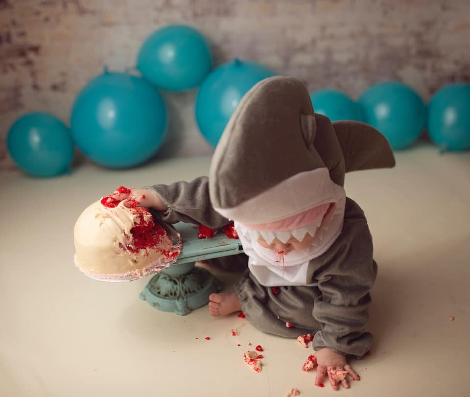 Baby Shark Eating Boob Cake as Breastfeeding a Biter Tribute