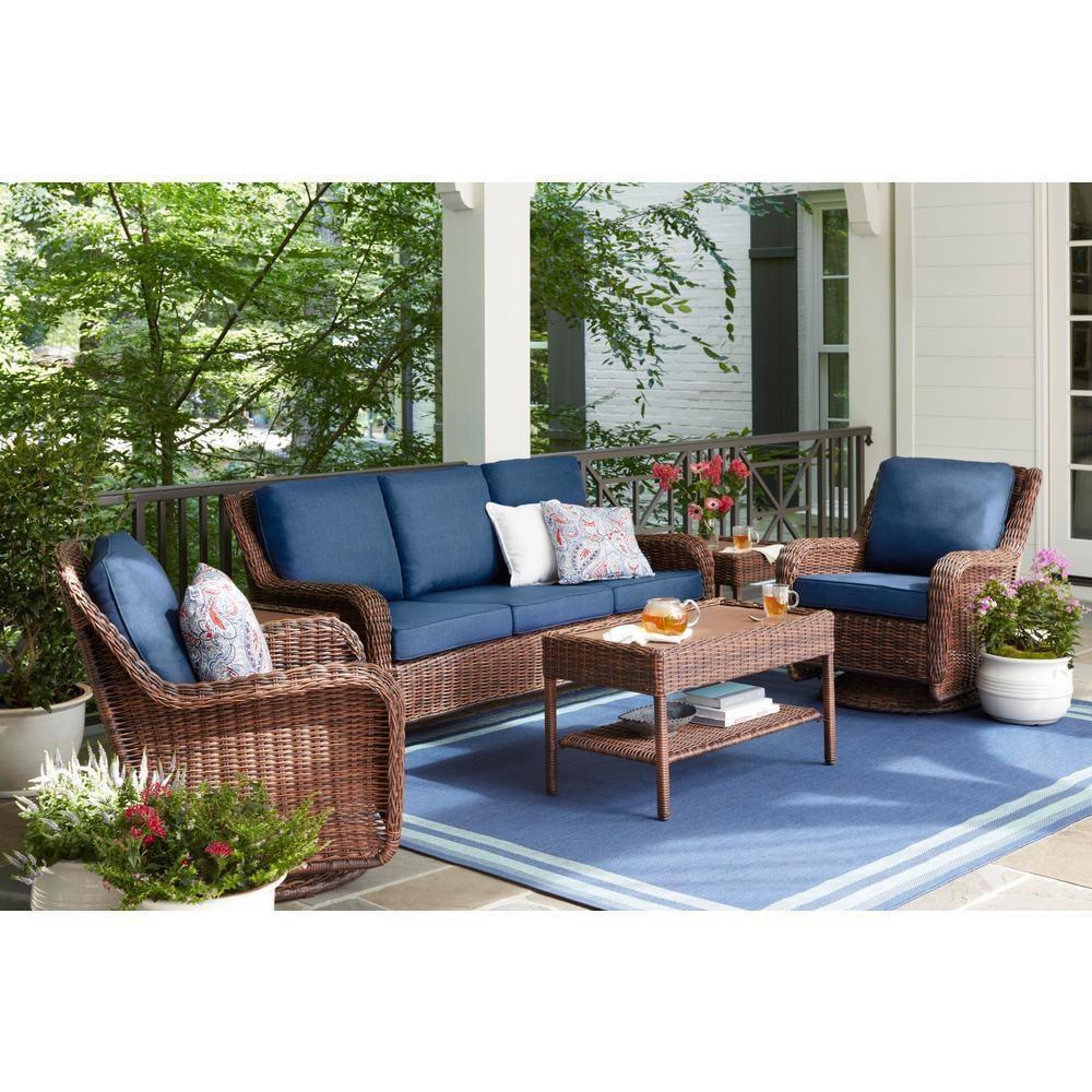Hampton Bay Cambridge Brown Wicker Outdoor Sofa With Cushions