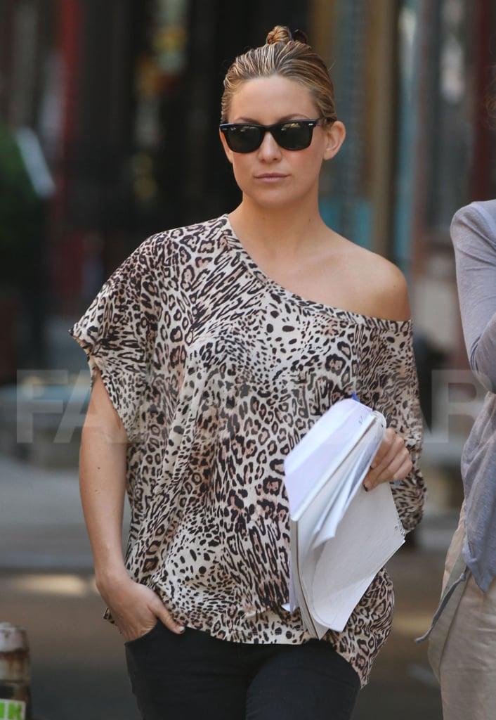 Kate Hudson in an Off-the-Shoulder Leopard Print Top