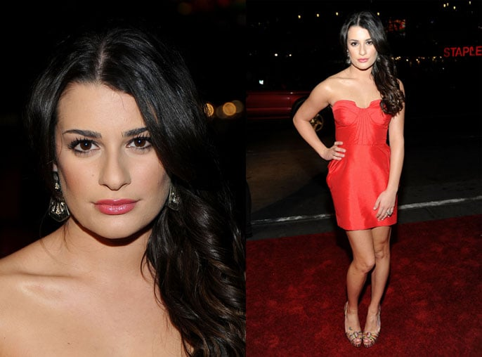 Glee's Lea Michele Attends 2010 People's Choice Award in Red Dress 2010-01-06 18:50:18