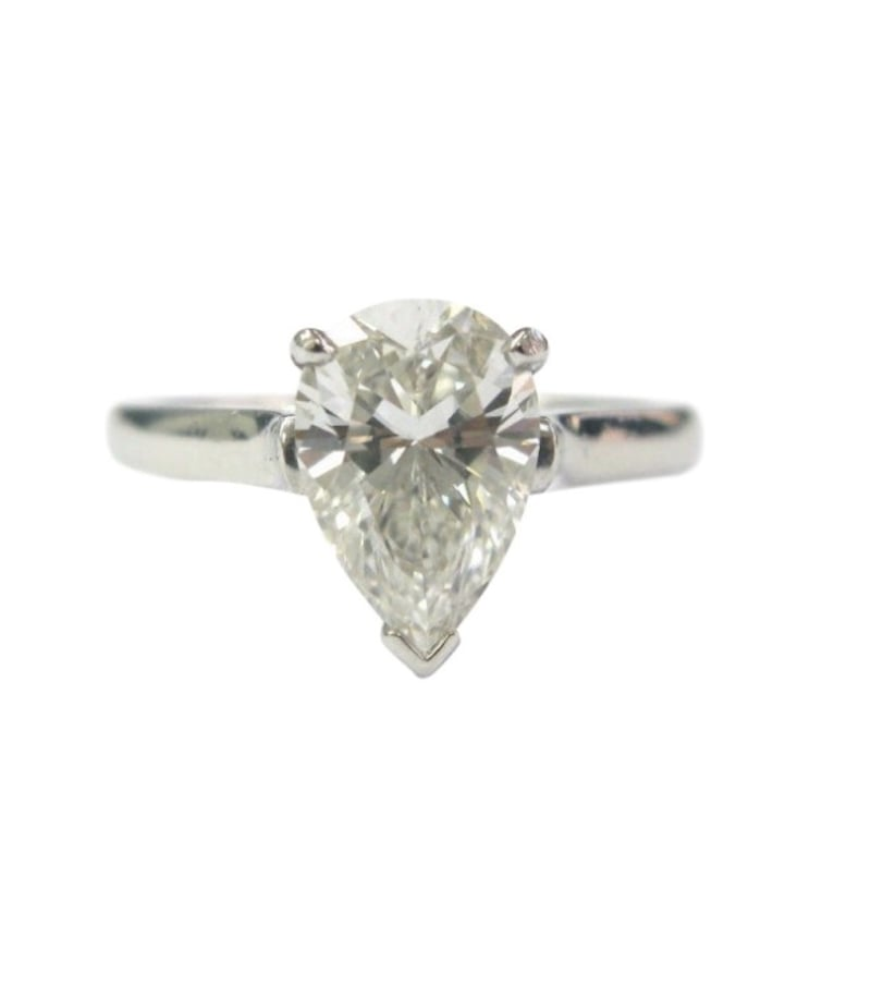 Tiffany & Co. Platinum Pear-Shaped Diamond Solitaire Ring