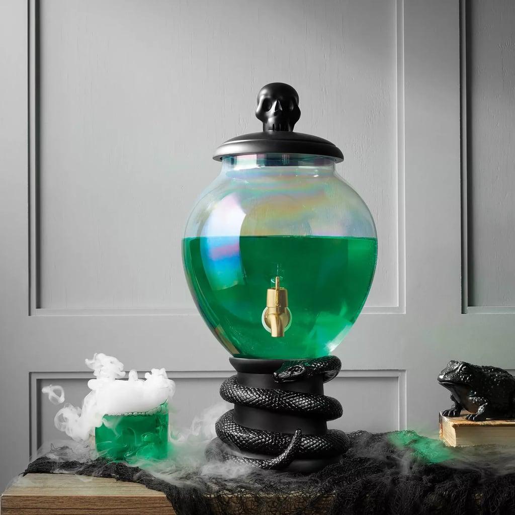 Target Halloween Light-Up Glass Beverage Dispenser With Black Snake Base