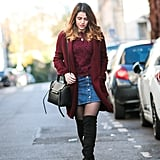 A Burgundy Top and Cardigan, a Denim Skirt, and Over-the-Knee Boots