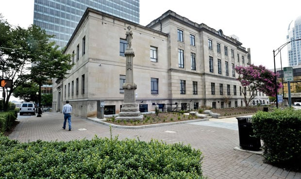 The revitalized courthouse is almost unrecognizable from its former Romanesque aesthetic.