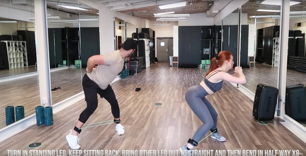 Turn the foot of your standing leg inward, and bring your other leg out and back in, bending it halfway and keeping your booty back the entire time. Repeat the last round of moves for the other leg.