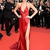 Bella Hadid struck a pose in her thigh-high-slit custom Alexandre Vauthier gown and Giuseppe Zanotti heels on The Unknown Girl's red carpet in 2016.