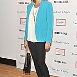 Kim Cattrall wore a turquoise blazer to the 2012 Tribeca Ball in NYC.