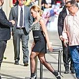 Scarlett Johansson Miu Miu Dress and Boots on Jimmy Kimmel