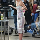 While on Good Morning America, Miranda Kerr sported a print dress with a pair of Casadei's orange suede Blade pumps. We love this nude-and-orange pair ($774.26), too!