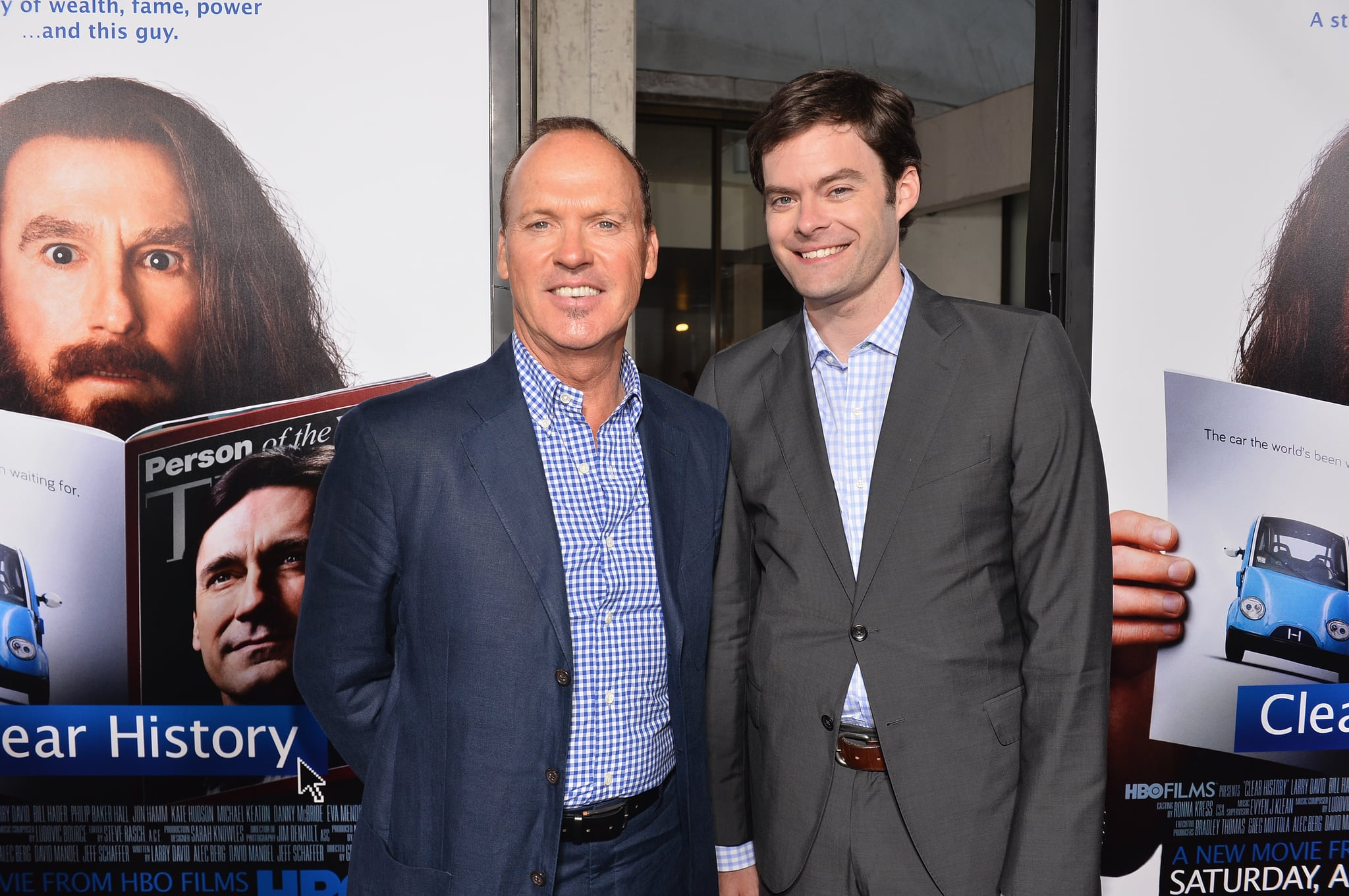 Bill Hader and Michael Keaton posed for photographers.