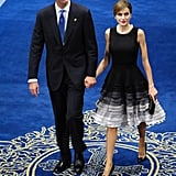 Queen Letizia in a tiered ombré dress.