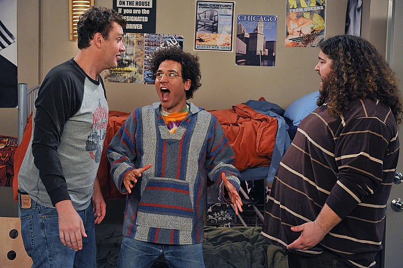 Marshall, Ted, and Blitz give us one of the show's many college flashbacks.