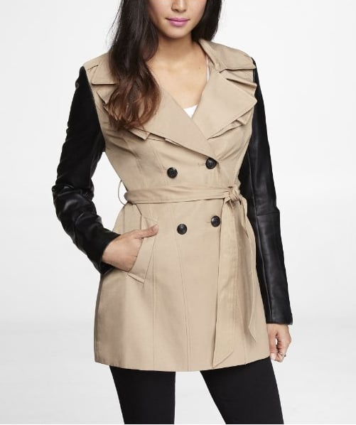 Every girl's gotta have a good trench; Express's trench coat ($128) comes with the cool leather sleeve effect.