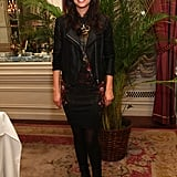 Katie Lee added a cooler vibe to a printed floral sheath with a moto-style jacket.