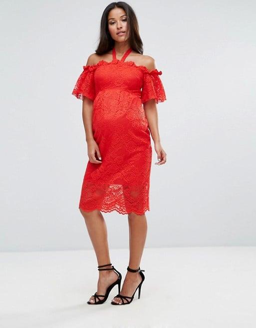 Hope Ivy Maternity Bardot Lace Dress Best Maternity Dresses For