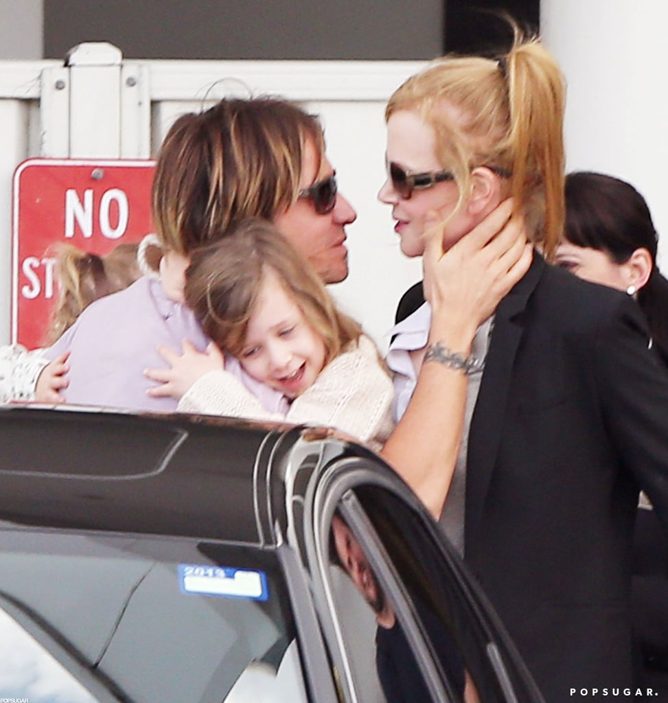 Keith Urban greeted Nicole Kidman at the airport.