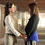 Revenge Madeline Stowe and Christa B. Allen on the season premiere of Revenge.