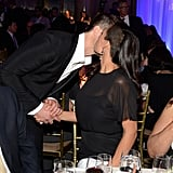 Rosario Dawson gave a kiss to Robin Thicke.