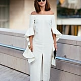 Nicole Warne's finishing touch on her all-white look was a pair of the iconic shoes.