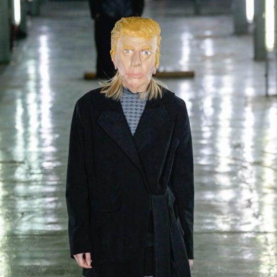 Models Wearing Donald Trump and Hillary Clinton Masks