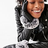 Vegan Leather Faux Fur Trim Glove