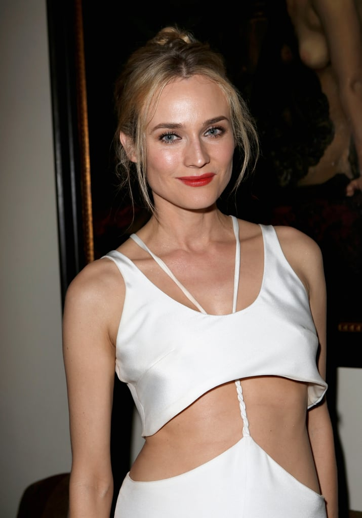Diane Kruger looked sexy in a white two-piece dress at GQ's afterparty.