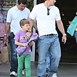 Mark Wahlberg held onto his older son, Michael, after leaving Bristol Farms on Monday.
