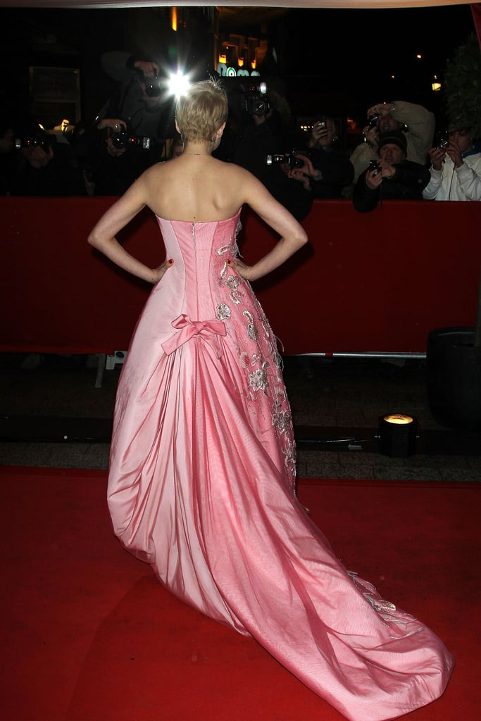 The back of Michelle's gown featured a pleating detail and long train.