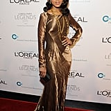 Kerry Washington chose a delicate satin Ralph Lauren fishtail dress for the 2011 L'Oréal Legends Gala (Ovarian Cancer Research Fund). We love the subtle mermaid hem and golden sheen.