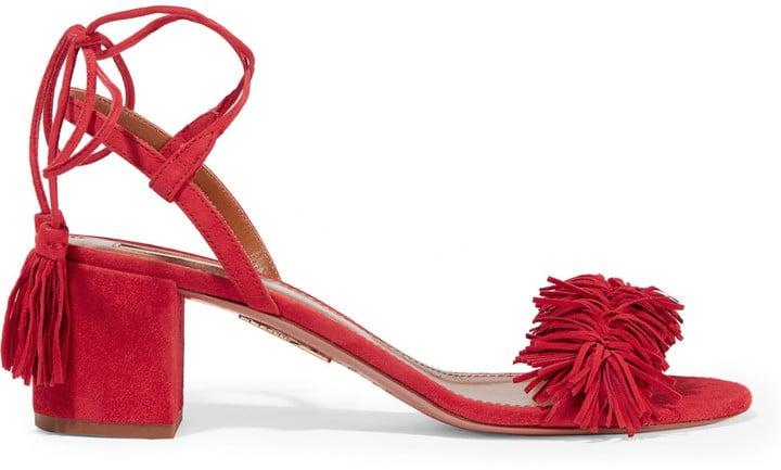 Aquazzura Wild Thing Fringed Suede Sandals ($785)
