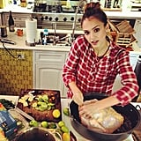 Jessica Alba prepped the turkey.  Source: Instagram user cash_warren