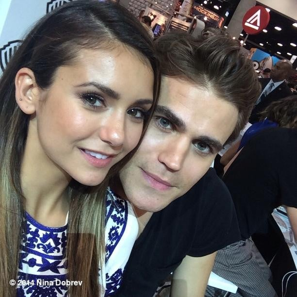 Nina Dobrev and Paul Wesley got close for a selfie at an event for The Vampire Diaries. Source: Instagram user ninadobrev