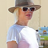 Gwen Stefani in white sunglasses.