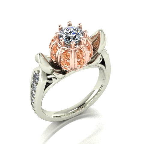 14 karat white and rose gold diamond cinderella ring 3750 - Disney Wedding Rings