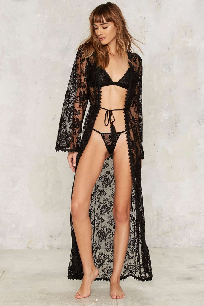 13827bf497bbd3 Nasty Gal Down Under Lace Robe and G-String Set ($78) | Lingerie by ...