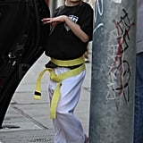 Violet left her karate class with a bright smile.