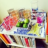 The finds: Two sets of colorful drinking glasses (seen on the far right of the photo).