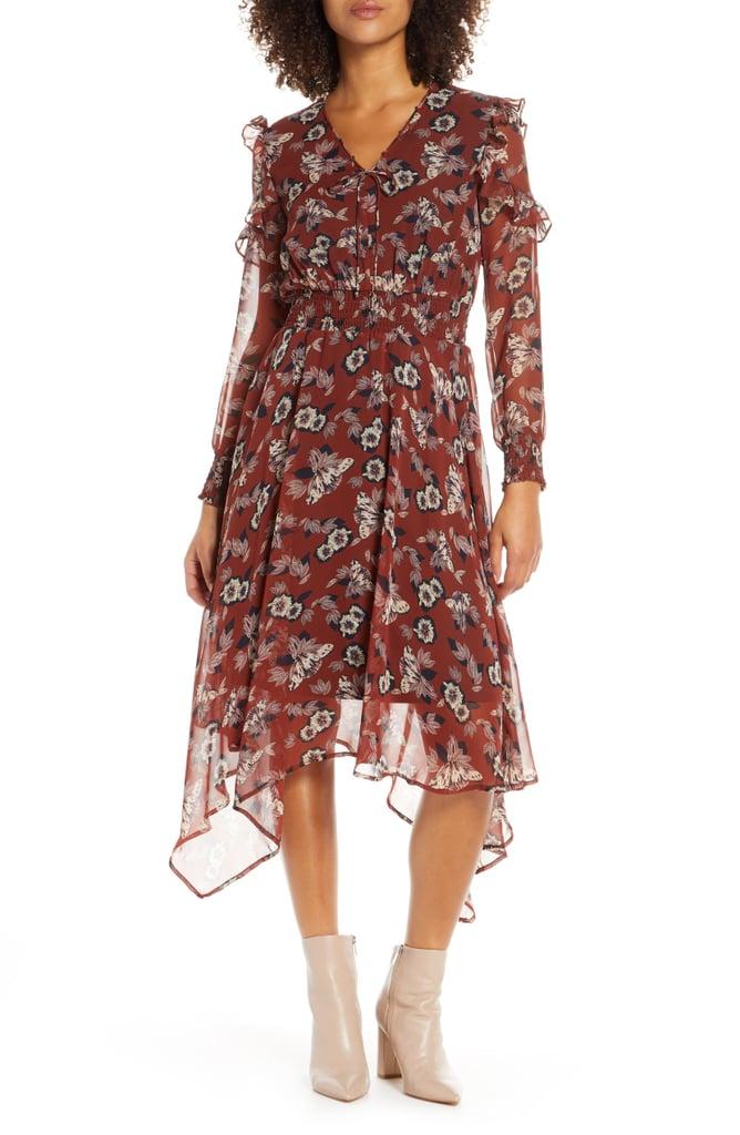 Sam Edelman Fanciful Flower Long Sleeve Dress
