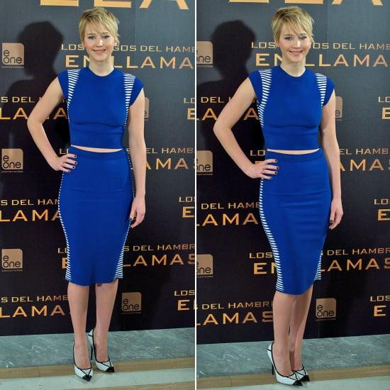 Jennifer Lawrence Catching Fire Dress In Madrid
