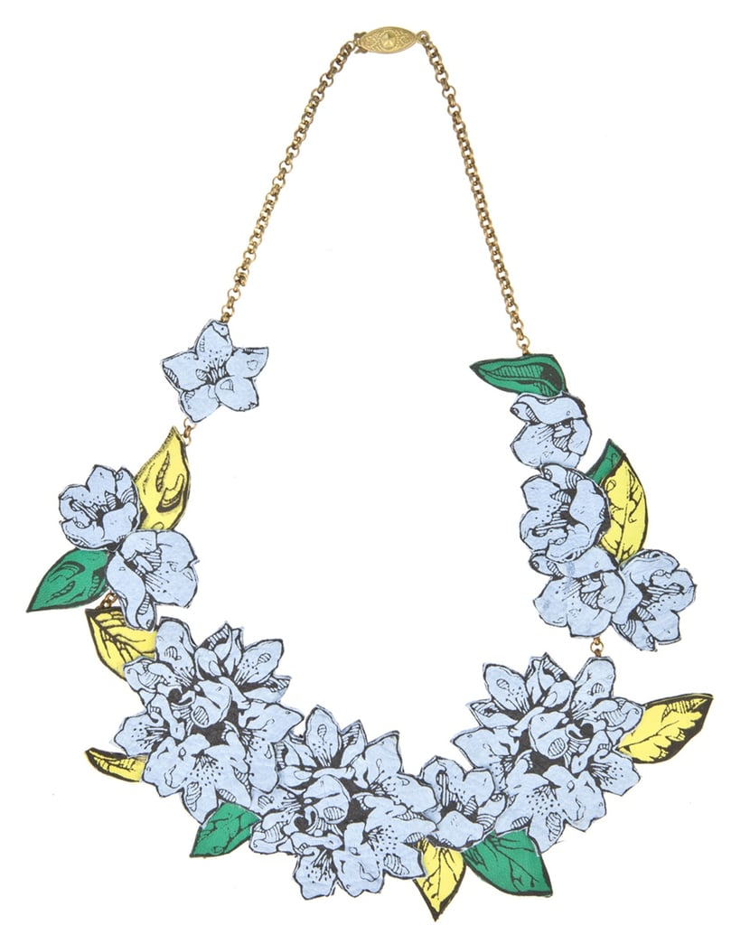 There are showers, so you bring the flowers with this cool Rosita Bonita leather necklace ($140).
