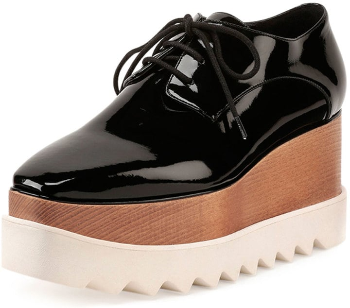 Stella McCartney Faux-Patent Lace-Up Loafer, Black ($1,100)