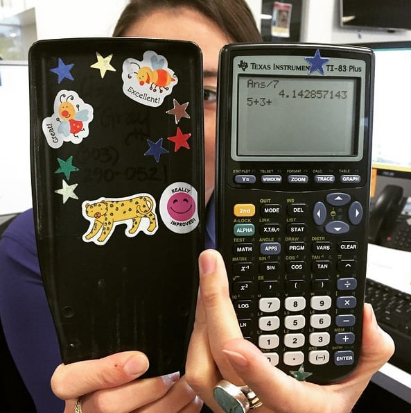Lugging around a huge calculator and laughing at the dirty things you could write on them.
