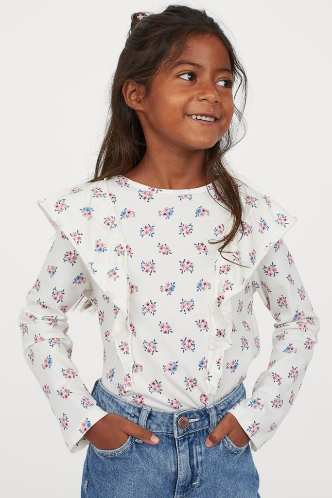 H&M Flounce-trimmed Jersey Top
