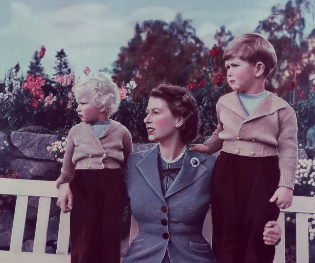 Queen Elizabeth II With Princess Anne and Prince Charles in Balmoral in 1952