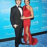 Danielle and Kevin Jonas hit the blue carpet.