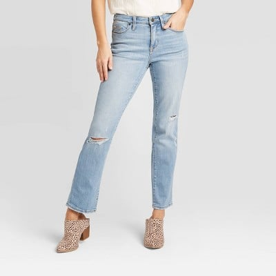 High-Rise Relaxed Fit Straight Cropped Jeans