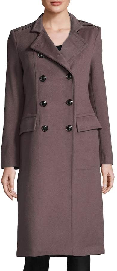 Badgley Mischka Women's Trinity Wool Epaulette Coat ($525)