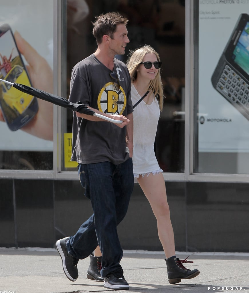 Amanda Seyfried made her public debut with new boyfriend Desmond Harrington in NYC yesterday when they held hands on the streets of the East Village. Amanda was back out this morning to walk her dog and grab coffee with a different male friend. Amanda and Desmond are hanging on the East Coast together during downtime from work obligations. Desmond is on a break from filming Dexter while Amanda is gearing up for press on multiple upcoming projects. She has Les Misérables, Lovelace, and The Big Wedding coming out before the end of the year. Amanda and Desmond apparently got together in July, after Amanda split from Josh Hartnett. It looks like Desmond's Dexter costar Jennifer Carpenter may have had a hand in their relationship since she reportedly set the two up.